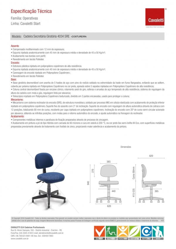 Cadeira COSTUREIRA Giratória Secretária 4034 SRE - Linha Start - Cavaletti - Base Polaina com Sapata -