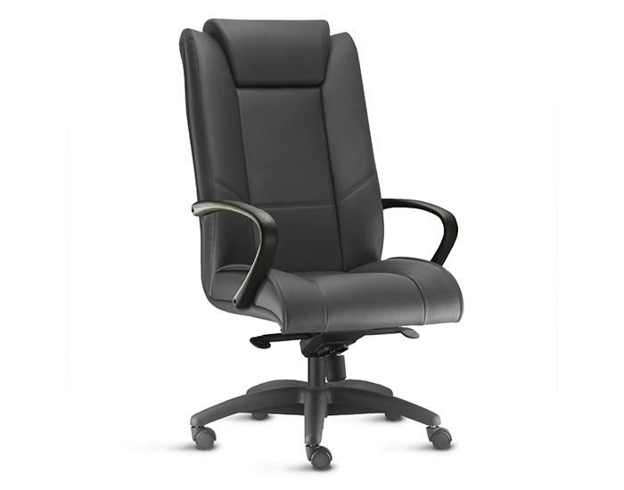 Cadeira para Escritório Presidente Giratória KONI005- Mecanismo Sincron - Base Nylon - Com Apoio de Cabeça -  Com Braço - Linha New Onix - Frisokar