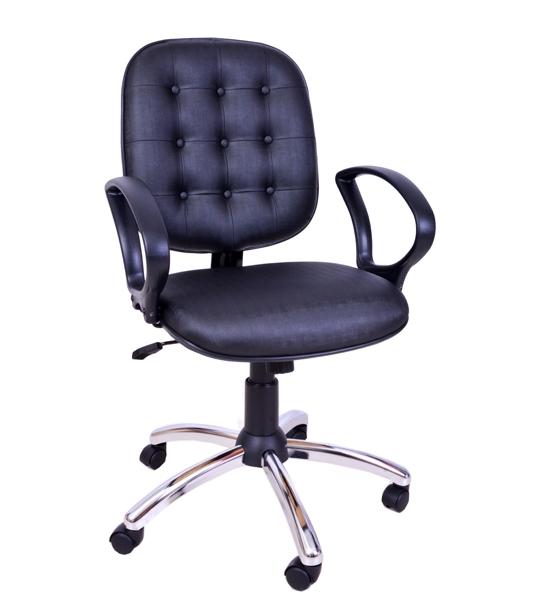Cadeira para escritório Diretor Giratória CROMADA Capitonê PDC/CR