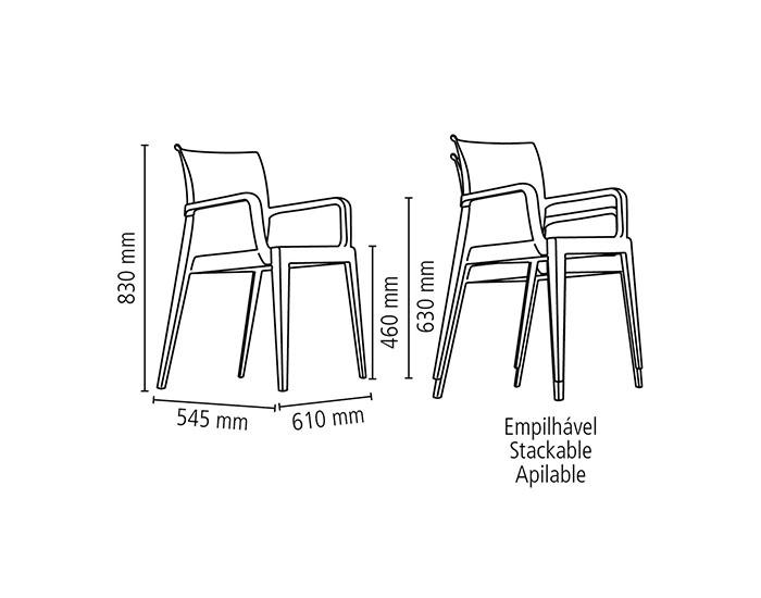Cadeira Tramontina Victória Vermelha com Braços Encosto Fechado em Polipropileno -