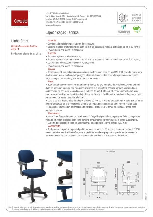 Cadeira para escritório Secretária Giratória 4004 - Linha Start - Braço SL - Cavaletti - Base Polaina -