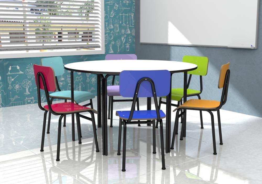 Conjunto de mesa redonda infantil colorido (1 à 5 anos) - 1 mesa + 6 cadeiras - 06 Lugares - Dellus