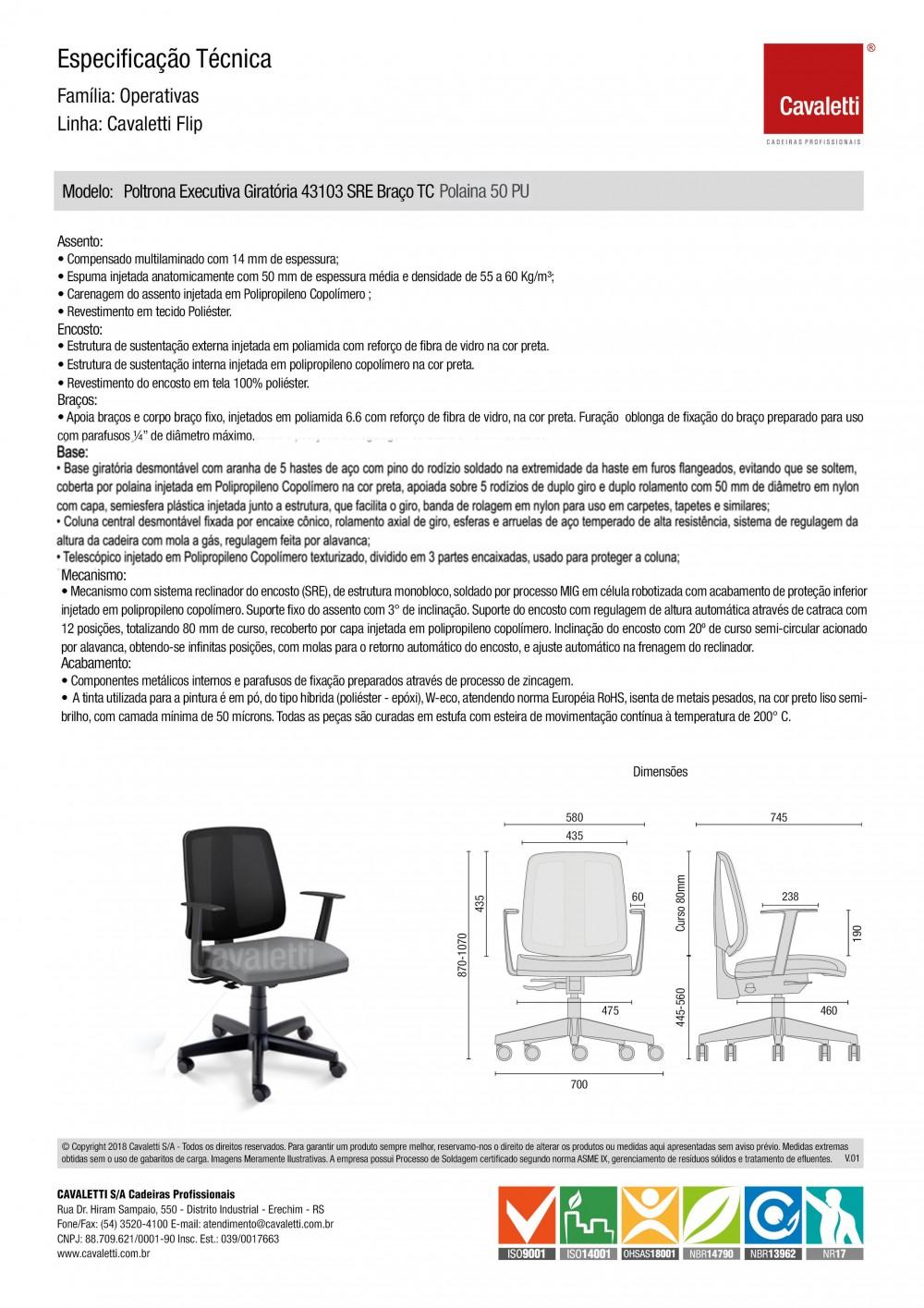 Cadeira para escritório executiva giratória 43103 SRE - Linha Flip - Braço SL - Cavaletti - Aranha POLAINA -