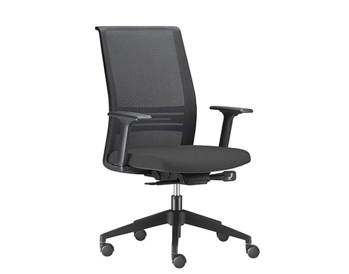 Cadeira para Escritório Presidente Giratória KAGI5 - Mecanismo Sincron - Base Nylon - Apoio Lombar - Com Braço - Rodízio PP - Linha Agile - Frisokar