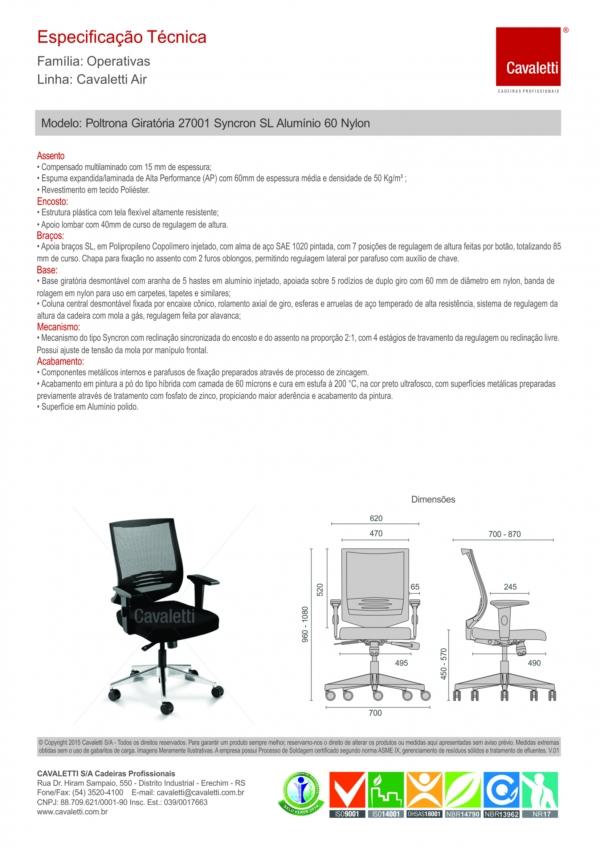 Cadeira para escritório giratória 27001 - Syncron - Linha Air - Braço SL - Cavaletti - Base em Alumínio -