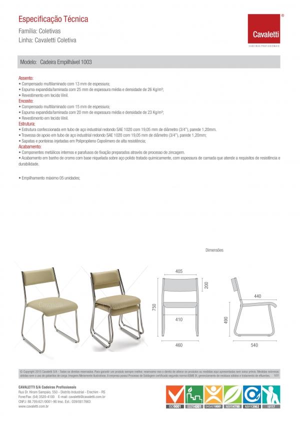 Cadeira para escritório fixa aproximação 1003 -  ESTRUTURA Cromada - Linha Coletiva - Cavaletti -