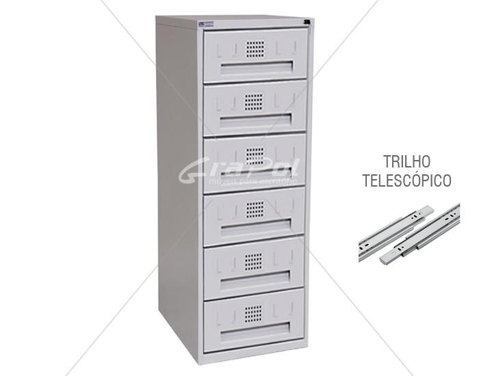 Arquivo de Aço 6 Gavetas para Fichas RAM 6 - TRILHO TELESCÓPICO - RCH - 0,71m Profundidade