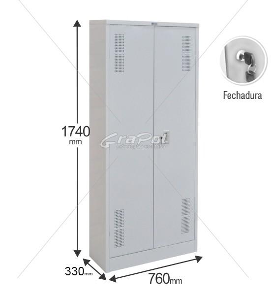 Armário de Aço RAA407 S/F - 2 Portas - 1740x760x300mm RCH - Com 02 prateleiras móveis e 01 fixa