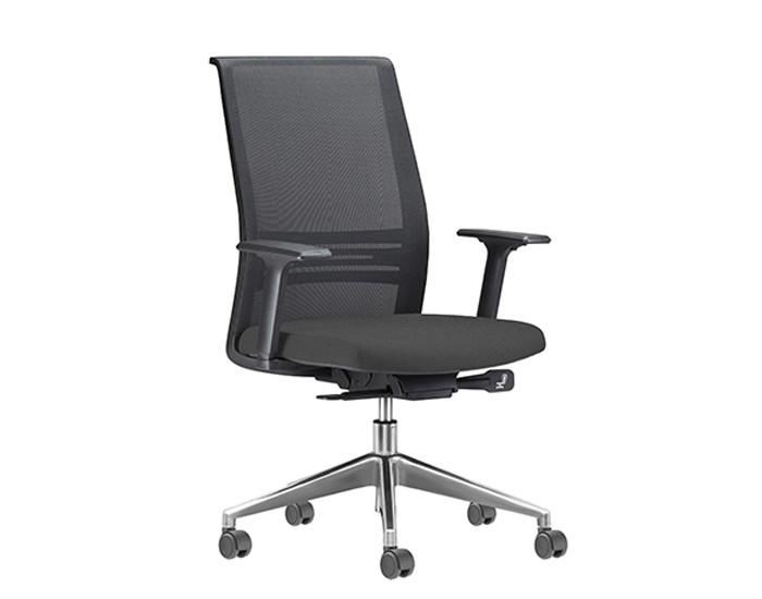 Cadeira para Escritório Presidente Giratória KAGI5 - Mecanismo Sincron - Base Alumínio - Apoio Lombar - Com Braço - Rodízio PU - Linha Agile - Frisokar