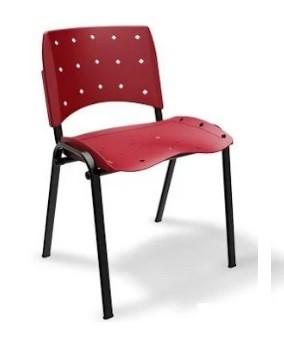 Cadeira Empilhável Plástica - Ergoplax - Estrutura Preta - Assento e Encosto Coloridos