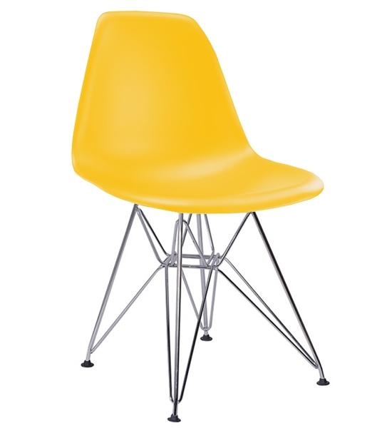 Cadeira Eiffel Eames Polipropileno -  Estrutura em aço cromado e concha Colorida