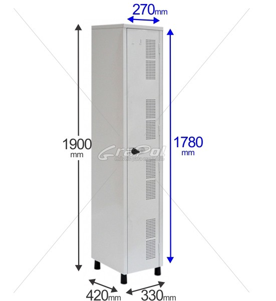 Roupeiro Para Vestiário RGRIP-1 1 Porta - Com Fecho Porta-Cadeado - RCH