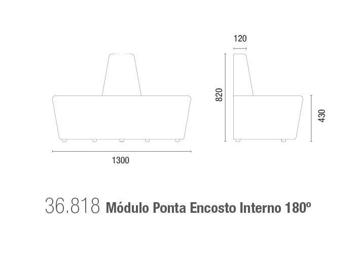 Sofá Espera 36818 - Módulo Ponta Encosto Interno 180°- Linha Spin - Cavaletti -