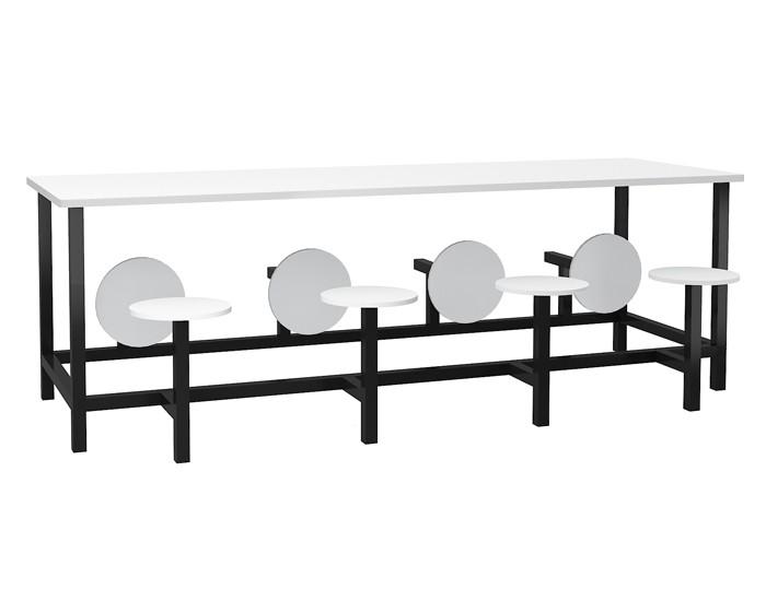 Mesa para refeitório com banco escamoteável 8 lug. MDF 15mm - Dellus