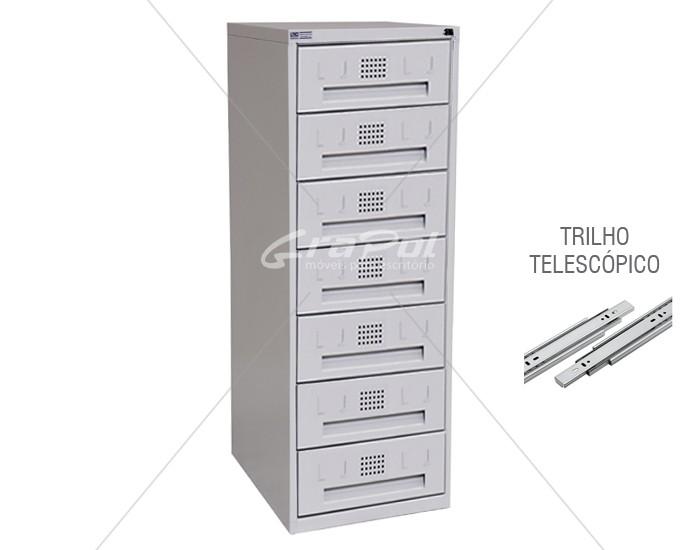 Arquivo de Aço 7 Gavetas para Fichas RAM 7 - CORREDIÇAS TRILHO TELESCÓPICO - RCH - 0,71m Profundidade