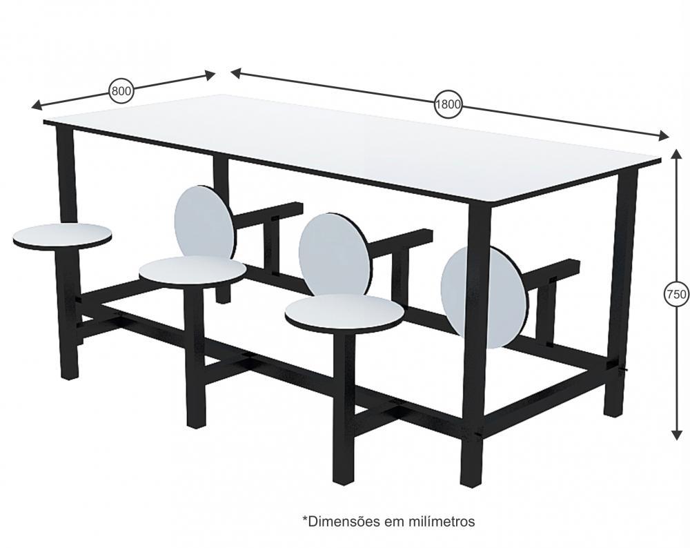 Mesa para refeitório com banco escamoteável 6 lug. MDF 18mm - Dellus -