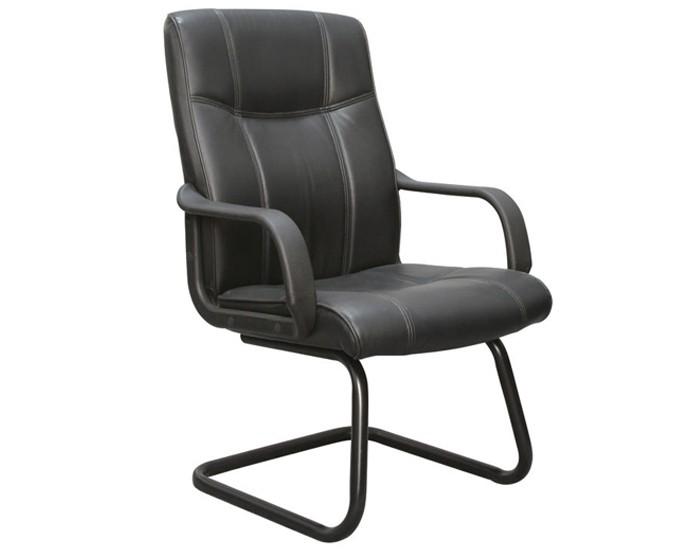 Cadeira Fixa - Revestida em Couro PU -  Base Preta - Com Braço - Pelegrin