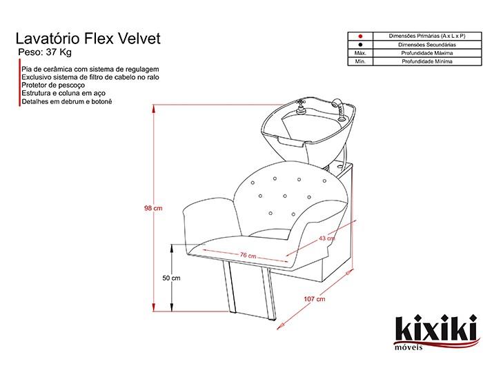 Lavatório  Flex Velvet - Pia de Cerâmica - Sem Aquecedor - Kixiki Móveis -