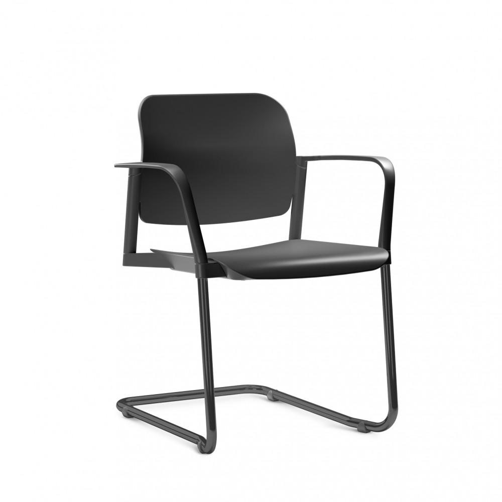 Cadeira em Plástico KLEAF06 -  Estrutura SKL - Linha Leaf - Com Braço -  Base Colorida - Frisokar