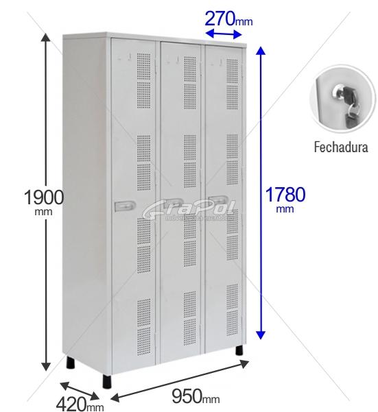 Roupeiro Para Vestiário RGRIP-3 3 Portas - Com FECHADURA - RCH