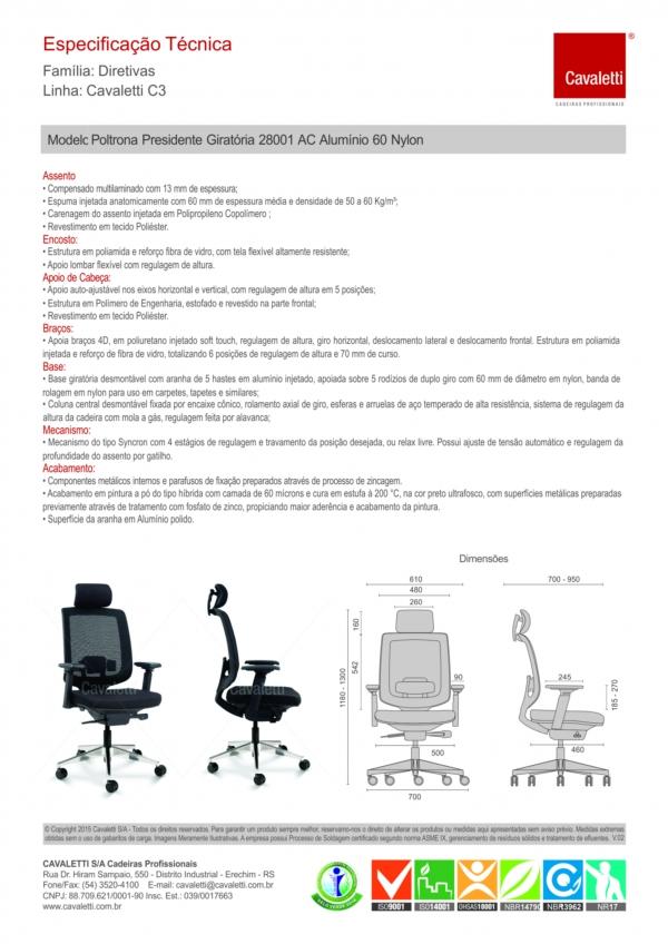 Cadeira para escritório giratória presidente 28001 AC - Syncron - Linha C3 - BRAÇO 4D - Cavaletti - Base Alumínio -
