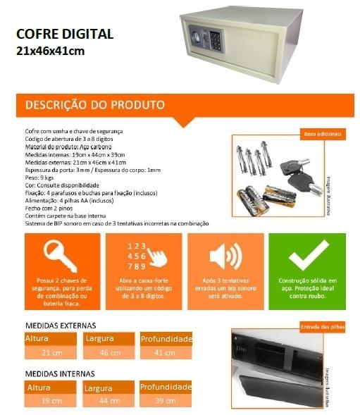 Cofre Digital para Notebook - Altura 210 mm x Profundidade 410 mm x Largura 460 mm -