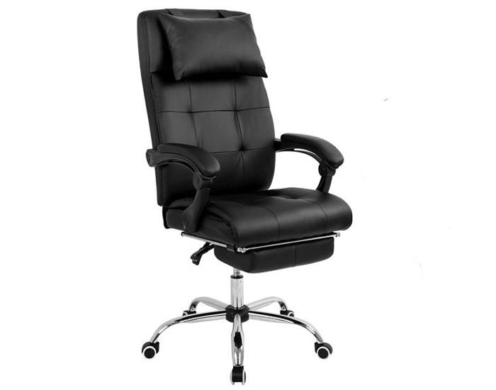 Cadeira Presidente - Inclinação 180º - Almofada Para a Cabeça - Apoio de Pés -  Base Cromada - Pelegrin