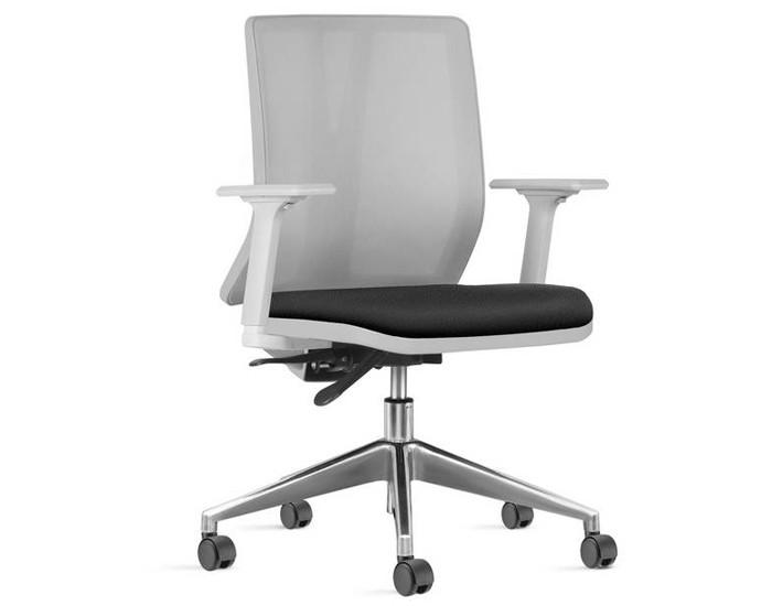 Cadeira Para Escritório Diretor Giratória KADD83 - Estrutura Cinza - Mecanismo Evolution -Base Piramidal em Alumínio - Linha Addit - Com Braço - Frisokar