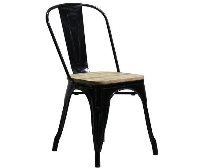 Cadeira Tolix - Estrutura em Metal - Assento em Madeira