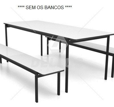 Mesa para Refeitório adulto - SEM OS BANCOS  - 2000 x 800 x 750 mm - Dellus