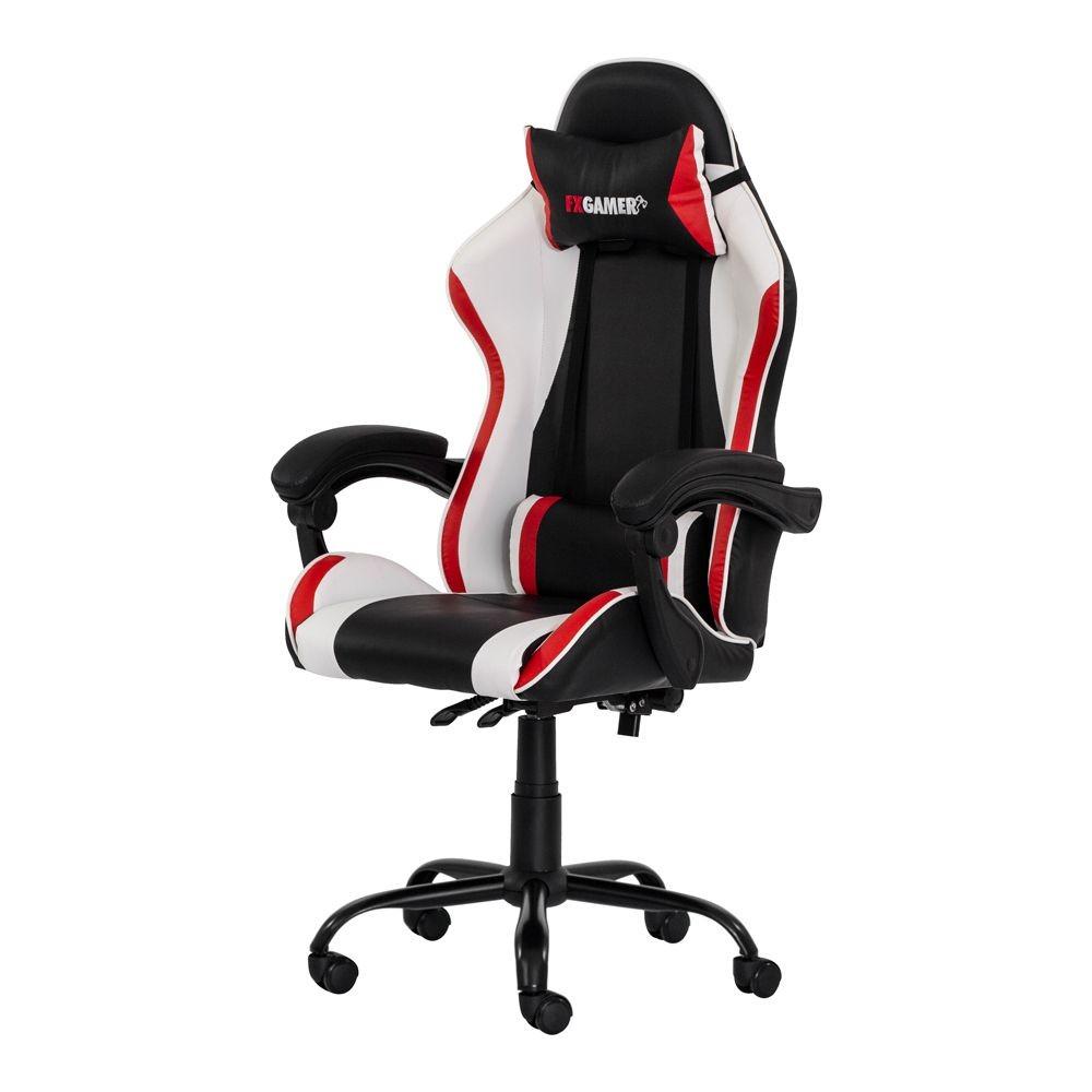 Cadeira Gamer Racer -  Assento Madeira Revestida com Espuma e Acabamento em PU - Preto com Branco e Vermelho