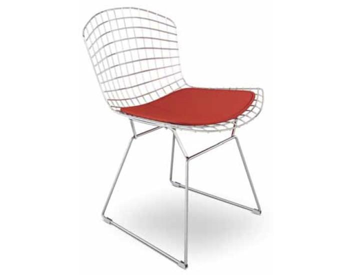 Cadeira Bertoia -  Base em Aço Cromado - Assento Estofado - Genial Móveis