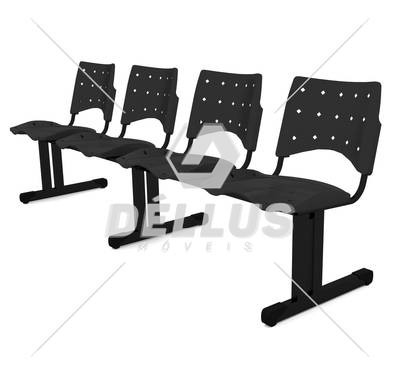 Cadeira Longarina Plástica - 04 Lugares - Dellus
