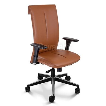 Cadeira para escritório giratória presidente 45101 - BRAÇO 4D - SYNCRON - Regulagem de Profundidade no Assento - Linha Leef - Cavaletti - Base Twin em Alumínio