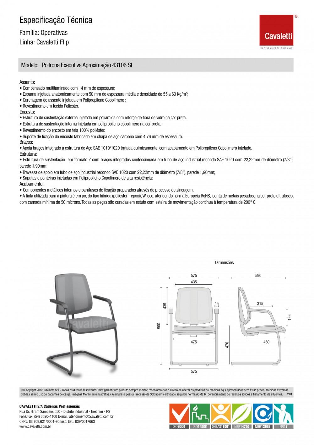 Cadeira para escritório fixa aproximação 43106 SI - Braço Integrado - ESTRUTURA CROMADA - Linha FLIP - Cavaletti -