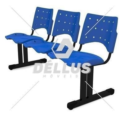 Cadeira Longarina Plástica - 03 Lugares - Dellus