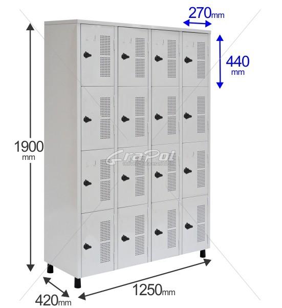 Roupeiro Para Vestiário RGRSP 16 Portas - Com Fecho Porta-Cadeado - RCH