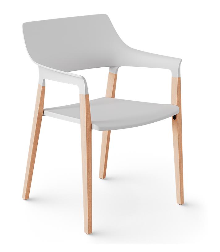 Cadeira Aproximação 25006 Pé Madeira Envernizada, Concha Plástica - Cavaletti