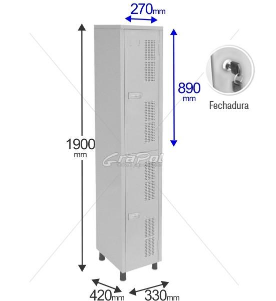 Roupeiro Para Vestiário RGRSP 2 2 Portas - Com FECHADURA - RCH