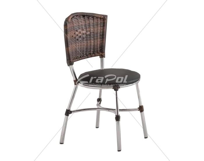 Cadeira 423 em Aço - Assento Redondo - Encosto em Junco - Estofada - Unimóvel