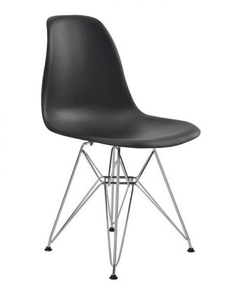Cadeira Eiffel Eames Polipropileno ANM8026X -  Estrutura em aço cromado e concha Colorida (PRETO E BRANCO)