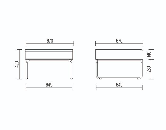 Puff Modular Pix - Espuma Injetada - Base em Metal -