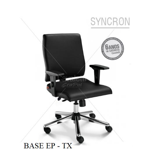 Cadeira para escritório giratória diretor 18002 - SYNCRON - Linha Slim - Braço SL - Cavaletti - Base Estampada EP - TX