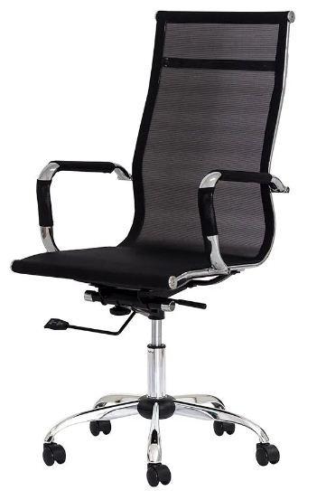 Cadeira Office Mesh Presidente - Base Aço Cromado - Mecanismo Relax
