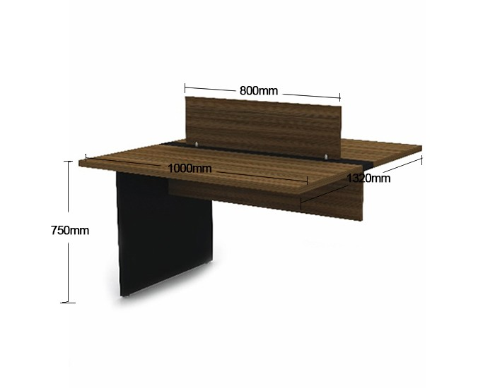Mesa Componível Complemento com 2 Lugares. 1 Lugar + 1 Lugar Frente a Frente - 1000mm X 1320mm X 750mm - Tampo MDP 40mm