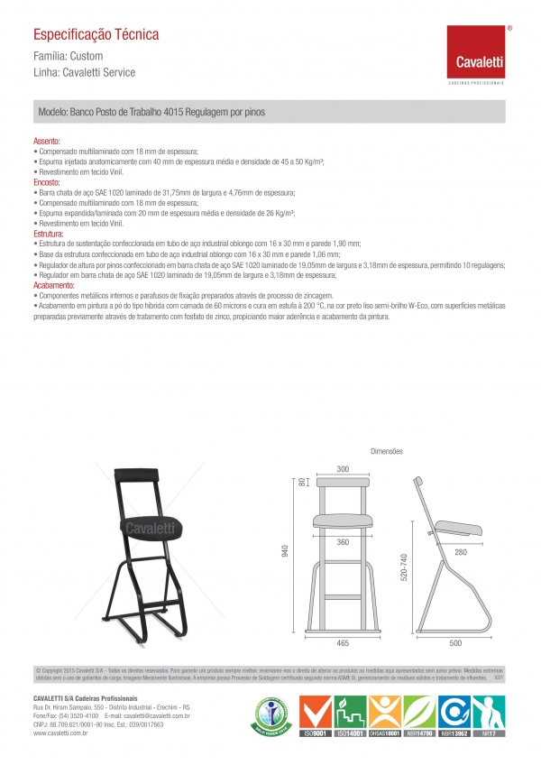 Banqueta / Banco para posto de trabalho -  com encosto 4015 - Estrutura preta - Cavaletti -