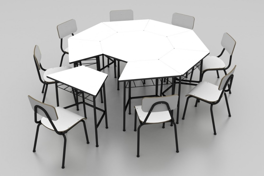 Conjunto de mesas e cadeiras OITAVADO JUVENIL (6 à 10 anos) Branco ou Bege - Dellus