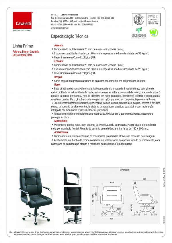 Cadeira para escritório giratória diretor 20103 Extra - Capacidade 140kg - Linha Prime - Cavaletti - Base Estampada Cromada -