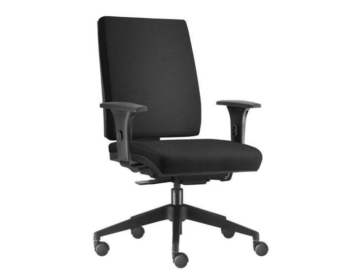 Cadeira para Escritório Presidente Giratória SIM076 - Mecanismo Sincron - Base Nylon - Com Braço - Rodízio PP - Linha Simple - Frisokar