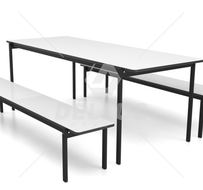 Mesa para refeitório com bancos empilháveis infantil - 2000 x 800 x 580 mm - Dellus